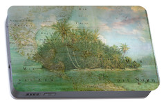 Portable Battery Charger featuring the photograph Antique Vintage Map Of North America Tropical Ocean by Debra and Dave Vanderlaan