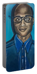 Smart Black Man Nerd Guy With Glasses Cartoon Art Painting Portable Battery Charger