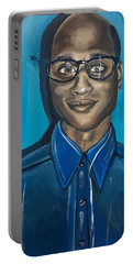 Black Man Cartoon Art, Nerd Guy With Glasses, Painting Portable Battery Charger