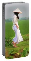 Ao Dai Woman Vietnamese Woman Portable Battery Charger
