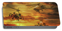 Portable Battery Charger featuring the digital art Apache Attack by Randy Steele