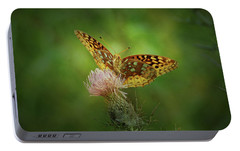 Portable Battery Charger featuring the photograph Aphrodite Fritillary Butterfly by Sandy Keeton
