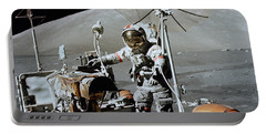 Apollo 17 Astronaut Approaches Portable Battery Charger