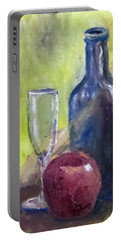 Apple And Wine Portable Battery Charger by Jim Phillips