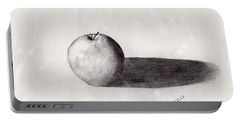 Portable Battery Charger featuring the drawing Apple by David Jackson