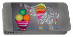Apples And Oranges And Elephants, Oh My -- Whimsical Still Life W/ Elephant Portable Battery Charger