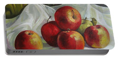 Portable Battery Charger featuring the painting Apples by Elena Oleniuc
