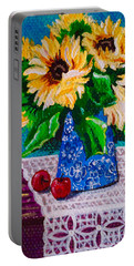 Apples  Sunflowers Portable Battery Charger by Jennifer Lake