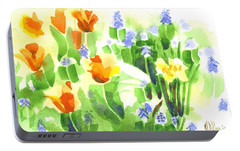 Portable Battery Charger featuring the painting April Flowers 2 by Kip DeVore