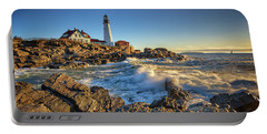 Portable Battery Charger featuring the photograph April Morning At Portland Head by Rick Berk