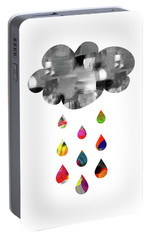 Portable Battery Charger featuring the mixed media April Showers- Art By Linda Woods by Linda Woods