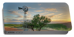 Spring Sunset And Windmill Portable Battery Charger