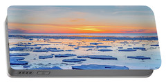 April Sunset Over Lake Superior Portable Battery Charger