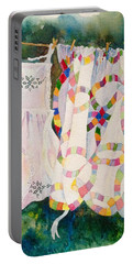 Portable Battery Charger featuring the painting Apron In The Wind by Mary Ellen Mueller Legault