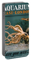 Aquarium Octopus Vintage Poster Restored Portable Battery Charger