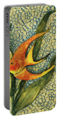 Aquarium On The Wall Portable Battery Charger by Itzhak Richter