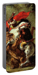 Portable Battery Charger featuring the painting Arab Horseman Attacked By A Lion by Eugene Delacroix