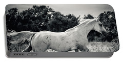 Arabian Horse Running In The Field Black And White Portable Battery Charger