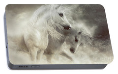 Portable Battery Charger featuring the digital art Arabian Horses Sandstorm by Shanina Conway