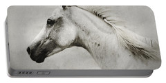 Arabian White Horse Portrait Portable Battery Charger