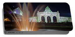 Arcade Du Cinquantenaire Fountain At Night - Brussels Portable Battery Charger