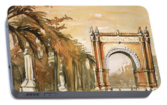 Portable Battery Charger featuring the painting Arch- Barcelona, Spain by Ryan Fox