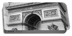 Arch Of Triumph - Paris - Black And White Portable Battery Charger