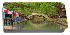 Portable Battery Charger featuring the photograph Arched Bridge Reflection - San Antonio by Art Block Collections