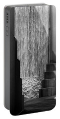 Architectural Waterfall In Black And White Portable Battery Charger