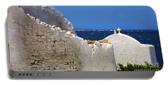 Architecture Mykonos Greece 2 Portable Battery Charger by Bob Christopher