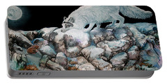 Portable Battery Charger featuring the painting Arctic Encounter by Sherry Shipley