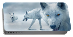 Arctic Wolves Portable Battery Charger by Mal Bray