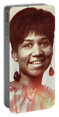 Portable Battery Charger featuring the digital art Aretha Franklin I Say A Little Prayer by Anthony Murphy
