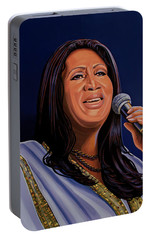 Aretha Franklin Painting Portable Battery Charger by Paul Meijering