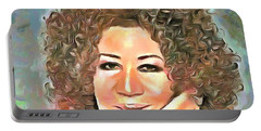 Aretha Franklin Portable Battery Charger by Wayne Pascall