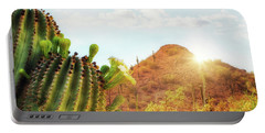 Arizona Desert Scene With Mountain And Cactus Portable Battery Charger