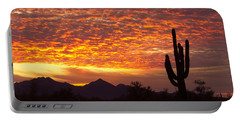 Arizona November Sunrise With Saguaro   Portable Battery Charger