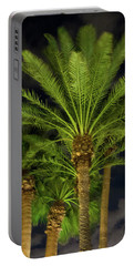Arizona Palms At Night Portable Battery Charger by Kimo Fernandez