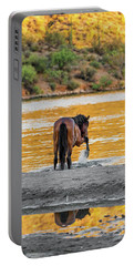 Arizona Wild Horse Playing In Water Portable Battery Charger