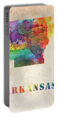 Arkansas Colorful Watercolor Map Portable Battery Charger