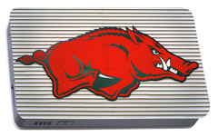 Portable Battery Charger featuring the photograph Arkansas Razorback On Metal by Gregory Ballos