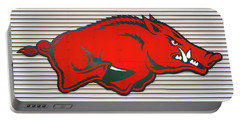Arkansas Razorback On Metal Portable Battery Charger by Gregory Ballos