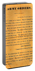 Portable Battery Charger featuring the drawing Texian Army Orders Call To Arms Broadside From Sam Houston 1836 Texas Revolution by Peter Gumaer Ogden