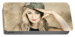 Army Pin-up Girl Signing Up For Recruit Enrolment  Portable Battery Charger