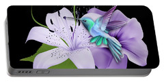 Portable Battery Charger featuring the mixed media Arrival Hummingbird by Marvin Blaine