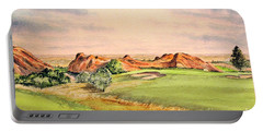 Portable Battery Charger featuring the painting Arrowhead Golf Course Colorado Hole 3 by Bill Holkham