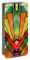 Portable Battery Charger featuring the digital art Art Deco Chevron 2 V by Chuck Staley