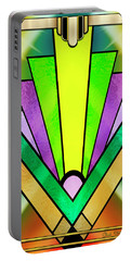Portable Battery Charger featuring the digital art Art Deco Chevron 3 V by Chuck Staley