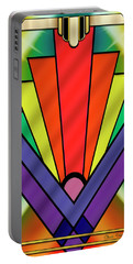 Portable Battery Charger featuring the digital art Art Deco Chevron 1 V - Chuck Staley by Chuck Staley