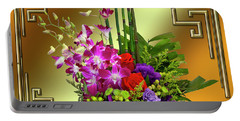 Portable Battery Charger featuring the digital art Art Deco Floral Arrangement by Chuck Staley